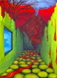 Painting, room with volcano