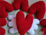 Red hearts with wings